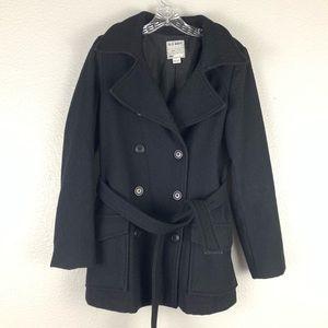Old Navy Black Warm Wool Blend Belted Pea Coat